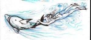 Дельфин, рисунок Александра Окуня