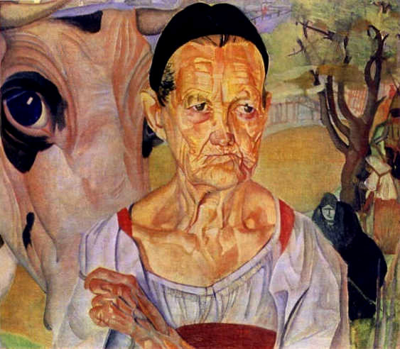 картина художника Бориса Григорьева(1886 – 1939) «Старуха-молочница».