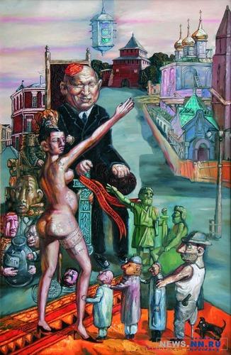 картина нижегородского художника Александра Лаврова «Как поднять»