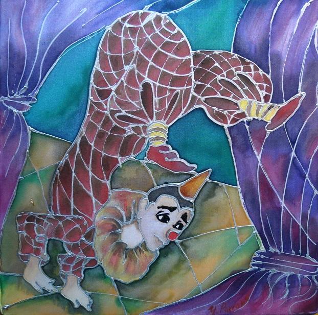 картина (роспись по шелку) художника Евгении Павловой, Нью-Джерси.