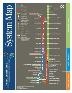 Схема - Восточная и Западная железнодорожные ветки, соединияющие Майами с городами Центральной и Северной Флориды.